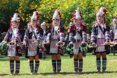 Dancing tradizionale della tribù della collina di Akha in Tailandia Fotografia Stock Libera da Diritti