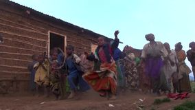 Dancing tribe of pygmies stock footage