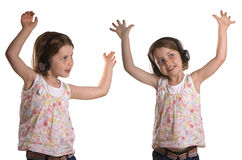 Dancing Twins with Headphones Royalty Free Stock Images