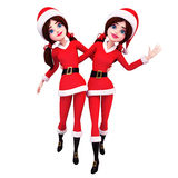 Dancing two Santa girl Royalty Free Stock Photography