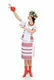 Dancing ukrainian. Young woman on white Stock Image