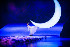 Dancing under the moon-Hui ballet moon over Helan Royalty Free Stock Photography