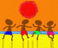 Dancing Under The Red Sun Painting Stock Photography