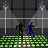 Dancing. Vector illustration.  in night clubs Royalty Free Stock Photos