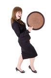 Dancing waitress with tray Royalty Free Stock Images