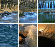 Dancing water. Beautiful photos - collage of a dancing water - river, lake and the sea. Photographed using a long exposure Stock Photos