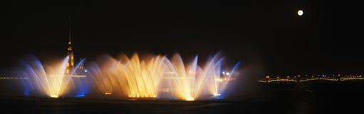 Dancing Water Fountain. Panorama of Dancing Water Fountain in Saint Petersburg Stock Photo
