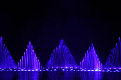 Dancing water fountain show. Cyprus Royalty Free Stock Photo