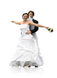 Dancing wedding couple Stock Photos