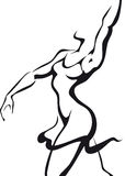 Dancing woman. Ink sketch of dansing woman Stock Photos
