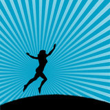 Dancing woman. An illustrated background of a silhouetted woman dancing on a design of blue beams Stock Image