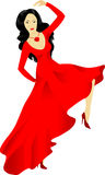 Dancing woman. Isolated dancing woman in red vector illustration