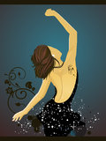 Dancing woman. Vector illustration of a woman and floral elements Stock Photos
