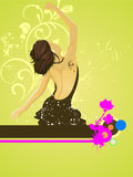 Dancing woman. Vector illustration of a dancing woman and floral elements Stock Photo