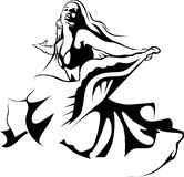 Dancing woman - black outline illustration Royalty Free Stock Images