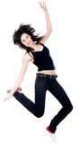 Dancing woman with brown long hair Stock Photos