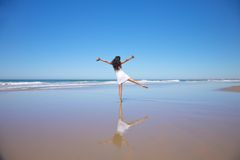Dancing woman at Castilnovo beach Royalty Free Stock Photography