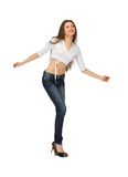 Dancing woman in casual clothes Stock Image