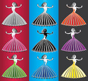 Dancing woman figure in color dress Stock Images