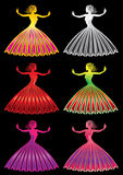 Dancing woman figure in colored dress Royalty Free Stock Photos