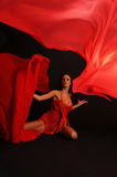 Dancing Woman, Flying Red Cloth Royalty Free Stock Photo