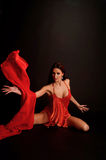 Dancing Woman, Flying Red Cloth Royalty Free Stock Images