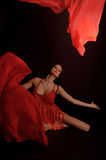 Dancing Woman, Flying Red Cloth Stock Images