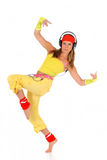 Dancing woman headset Royalty Free Stock Photography