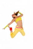 Dancing woman headset Royalty Free Stock Photos