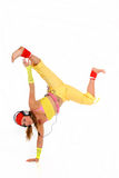 Dancing woman headset Stock Photos
