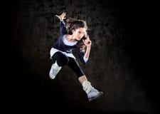 Dancing woman jumping up. Royalty Free Stock Photography
