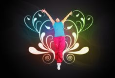 Dancing woman jumps on ornament background Stock Image