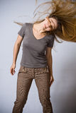 Dancing woman with moving hair Royalty Free Stock Photos