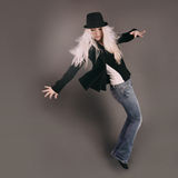 Dancing Woman with Moving Pose Royalty Free Stock Photo