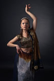 Dancing  woman in the national Indian costume Royalty Free Stock Images