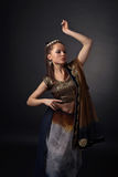 Dancing  woman in the national Indian costume Stock Images