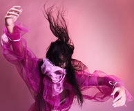 Dancing Woman On Pink Background Stock Photos