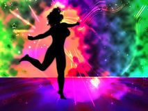 Dancing woman pop illustration. Dancing woman silhouette on colored disco background Stock Photos