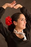 Dancing woman. Portrait of beautiful woman with flower dancing Royalty Free Stock Photos