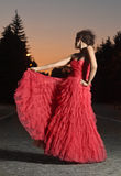 Dancing woman in red Stock Photo