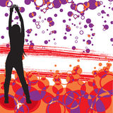 Dancing woman and retro background Stock Image