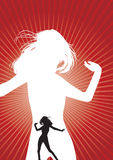 A dancing woman silhouette Stock Photography