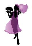 Dancing woman silhouette. Beautiful dancing woman with fan vector illustration