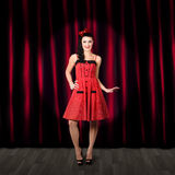 Dancing woman wearing retro rockabilly dress Stock Photo