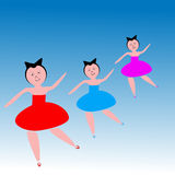 Dancing women. Illustration of dancing women is isolated on white background Stock Photo