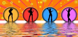 Dancing women. Four women dancing in circles Stock Images