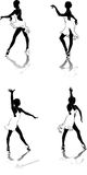 Dancing women. Beautiful high detailed figures of dancers drawn manually. May be useful as elements for the designers. Vector EPS format is available Stock Photography