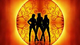 Dancing Women Background Stock Image