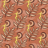Dancing Women. Hand drawn pattern made from branches and dancing womens on the brown background Stock Images