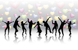 Dancing women and men with background Stock Images